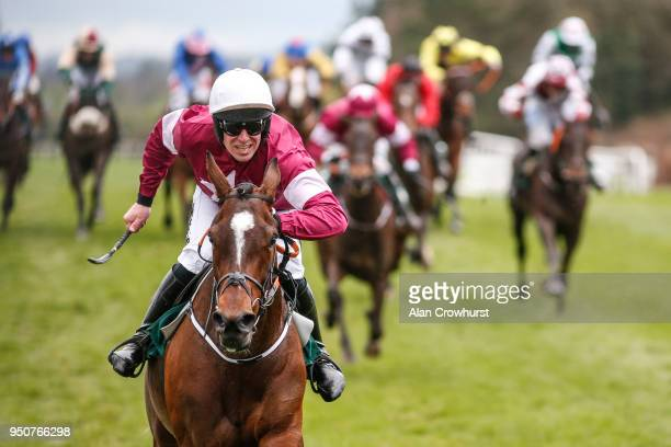 Barry O'Neill riding Commander Of Fleet win The Goffs Land Rover Bumper at Punchestown racecourse on April 24 2018 in Naas Ireland