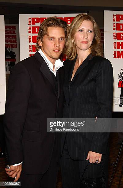 Barry Pepper and wife Cindy during Knockaround Guys Premiere New York at AMC Empire 25 Theatre in New York City New York United States