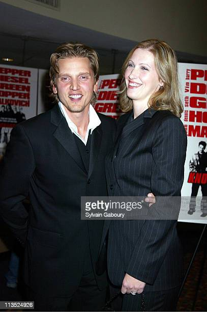Barry Pepper Cindy Pepper during New Line Cinemas' Premiere of Knockaround Guys at AMC Empire 25 Theater in New York City New York United States