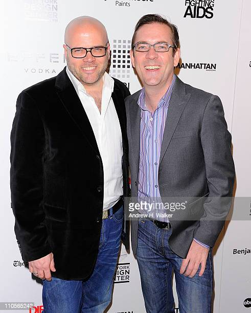 Barry Rice and television personality Ted Allen attend the 2011 DIFFA DINING BY DESIGN New York Gala Dinner at Pier 94 on March 21 2011 in New York...