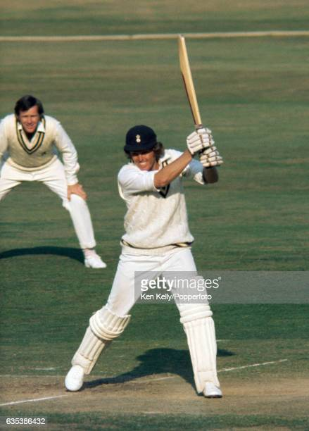 Barry Richards batting for Hampshire during a county match between Warwickshire and Hampshire at Edgbaston Birmingham circa August 1975 The fielder...