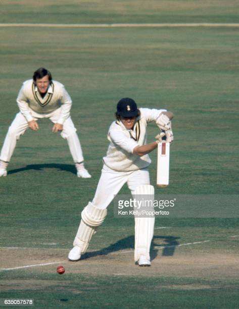 Barry Richards batting for Hampshire in a county match against Warwickshire at Edgbaston Birmingham circa mid1970s The fielder for Warwickshire is...