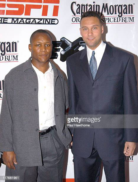 Barry Sanders and Derek Jeter during ESPN The Magazine 'NEXT' Party New York at Capitale in New York City New York United States