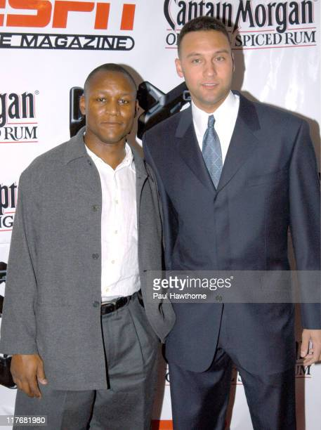 Barry Sanders and Derek Jeter during ESPN The Magazine NEXT Party New York at Capitale in New York City New York United States