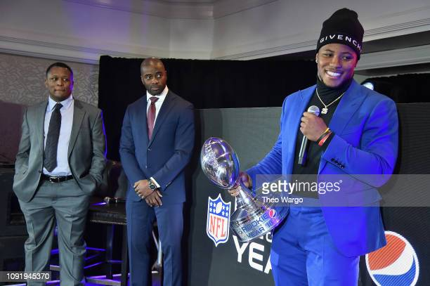 Barry Sanders Curtis Martin and Saquon Barkley attend the Pepsi Rookie Brunch Celebrating Saquon Barkley as 2018 Pepsi NFL Rookie of The Year at the...