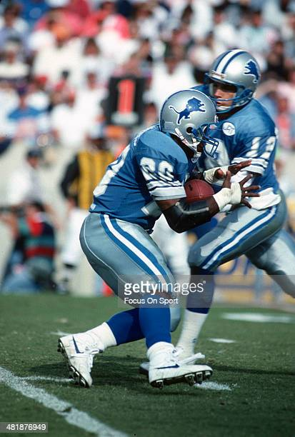 Barry Sanders of the Detroit Lions takes the handoff from Erik Kramer against the Tampa Bay Buccaneers November 10 1991 during an NFL football game...