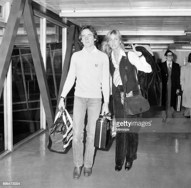 Barry Sheene British World Champion Grand Prix motorcycle road racer pictured with girlfriend Stephanie McLean at London Heathrow Airport 10th...