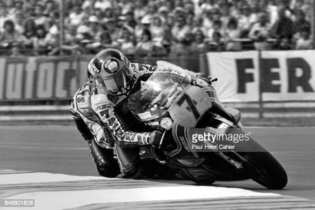 Barry Sheene Kenny Roberts Suzuki 500cc Yamaha 500cc Grand Prix of Great Britain Silverstone Circuit Silverstone England August 12 1979 British...