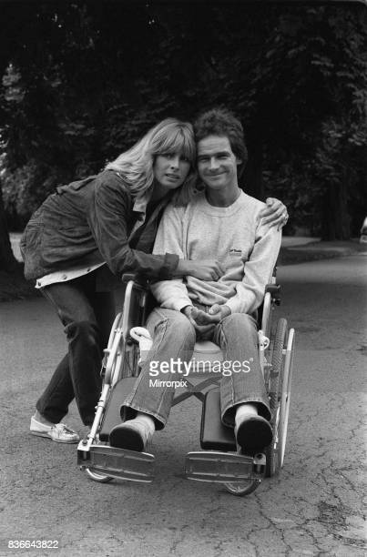 Barry Sheene motorcycle race rider August 1982 with girlfriend Stephanie McLean having left hospital after his 160mph crash at Silverstone on 28th...