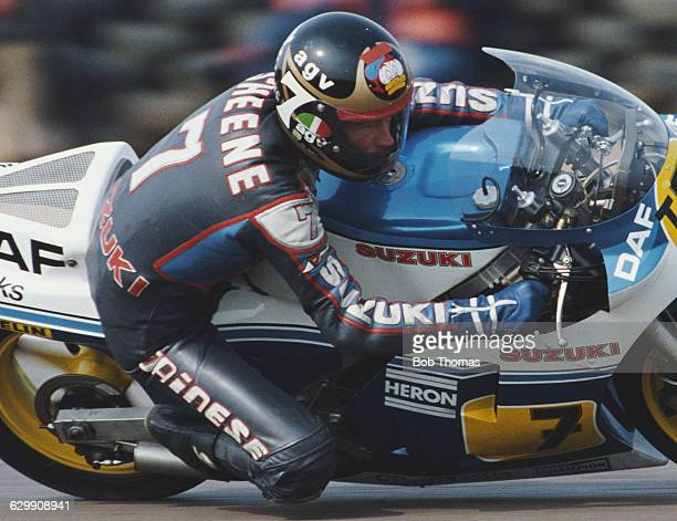 Barry Sheene of Great Britain rides the Heron DAF Suzuki 500cc during the XIV TransAtlantic Challenge Motorcycle races on 22 April 1984 at the...