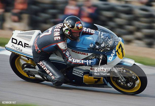 Barry Sheene of Great Britain rides the Heron Suzuki 500cc during the XIV TransAtlantic Challenge Motorcycle races on 22 April 1984 at the Donington...