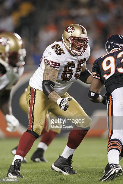 Barry Sims of the San Francisco 49ers blocks during the NFL game against the Chicago Bears at Soldier Field on August 21 2008 in Chicago Illinois The...