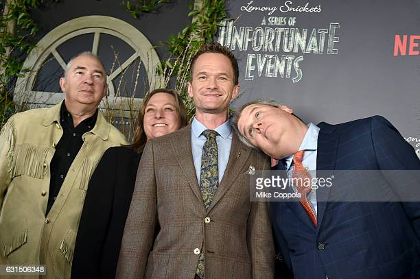 Barry Sonnenfeld Cindy Holland Ted Sarandos and Daniel Handler attend the Lemony Snicket's A Series Of Unfortunate Events Screening at AMC Lincoln...