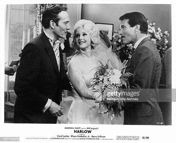 Barry Sullivan Carol Lynley and Efrem Zimbalist Jr meeting at reception in a scene from the film 'Harlow' 1965
