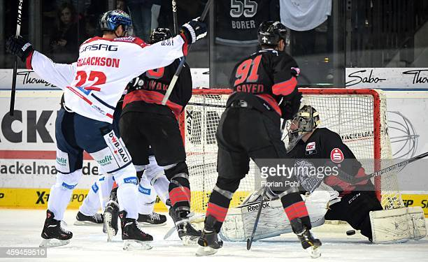 Barry Tallackson of the Eisbaeren Berlin celebrates after scoring the 01 during the game between Thomas Sabo Ice Tigers and Eisbaeren Berlin on...