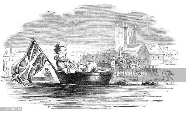 Barry, the Clown, on the Thames, 1844. Scene on the River Thames in London: '...an eccentric feat of very rare, though not unprecedented enactment....