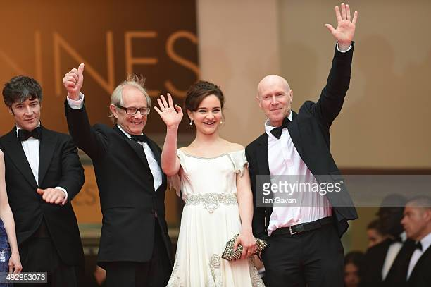 Barry Ward director Ken Loach Aisling Franciosi and Paul Laverty attend the Jimmy's Hall premiere during the 67th Annual Cannes Film Festival on May...