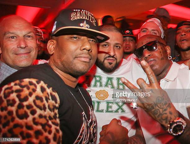 Barry Weiss Maino DJ Khaled and Birdman attends the The Rich Game Album listening event at Bagatelle on July 22 2013 in New York City