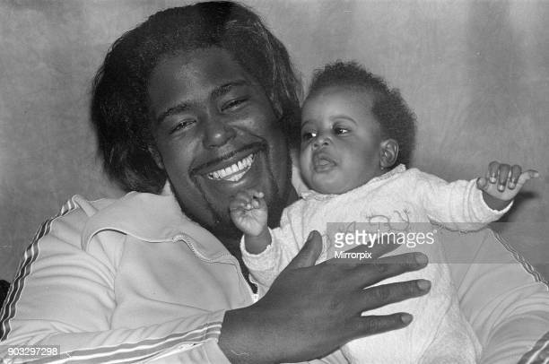 Barry White has arrived in London for a series of six concerts with his wife Glodean and two month old daughter Shaheiah Love White Picture Shows...