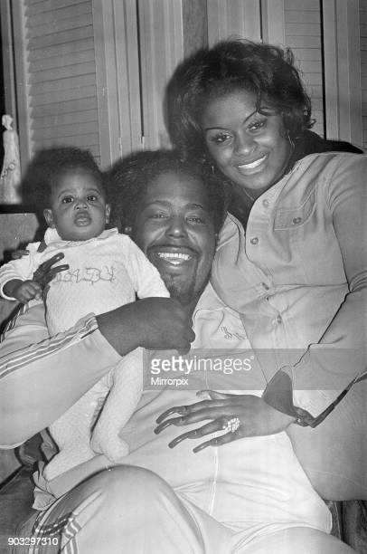 Barry White has arrived in London for a series of six concerts with his wife Glodean and two month old daughter Shaheiah Love White Picture taken...