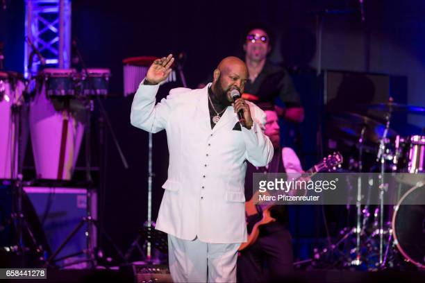 Barry White tribute performer Eric Conley and his orchestra perform onstage during 'The Barry White Experience' Tour at the Lanxess Arena on March 27...