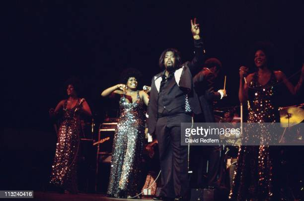 Barry White US singersongwriter on stage during a live concert performance at the Royal Albert Hall London England Great Britain in May 1975