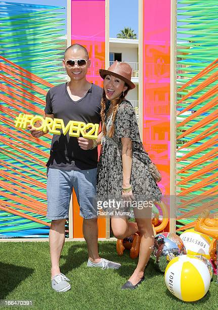 Barry Wong and Annie Davis attend Forever 21 Desert Disco at Saguaro Hotel on April 12 2013 in Palm Springs California