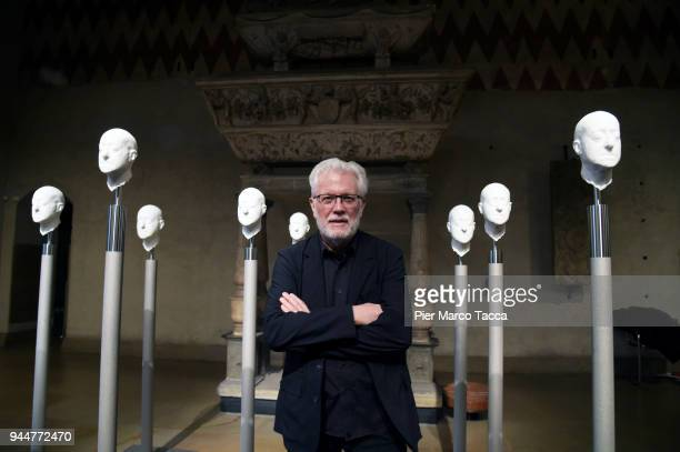 Barry X Ball poses during a press preview of the 'Pietà' installation his interpretation of Michelangelo's 'Pietà Rondanini' at Castello Sforzesco on...