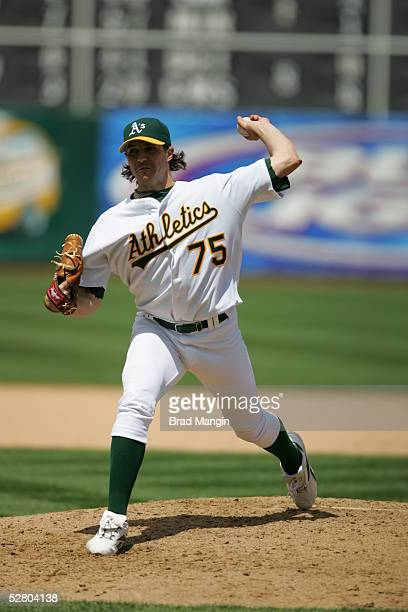 Barry Zito of the Oakland Athletics pitches during the game against the Seattle Mariners at McAfee Coliseum on May 1, 2005 in Oakland, California....