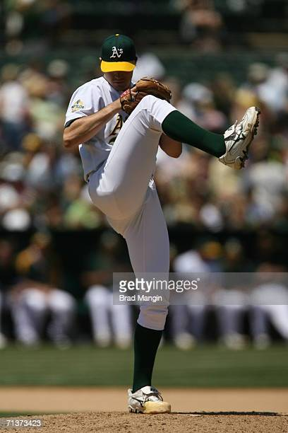 Barry Zito of the Oakland Athletics pitches during the game against the Arizona Diamondbacks at the McAfee Coliseum in Oakland California on July 2...