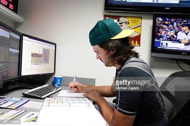 Barry Zito of the Oakland Athletics studies video in the video room prior to the game against the Texas Rangers at Oco Coliseum on September 23 2015...