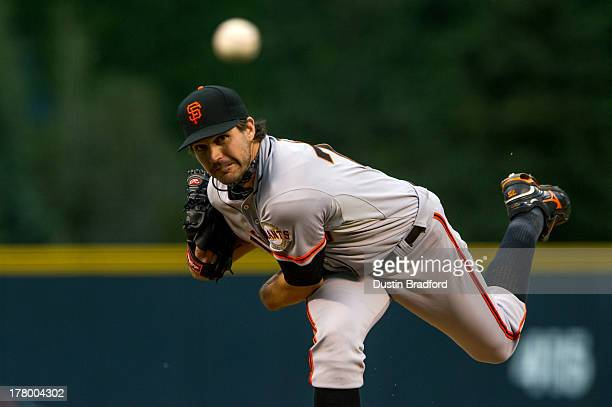 Barry Zito of the San Francisco Giants delivers a pitch against the Colorado Rockies in the first inning of a game against the Colorado Rockies at...