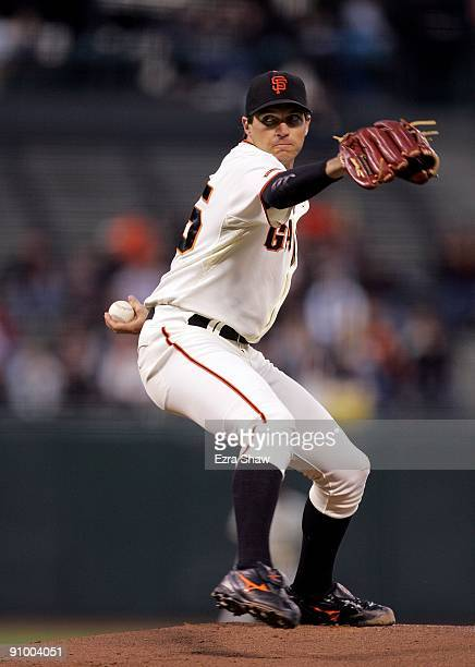 Barry Zito of the San Francisco Giants pitches against the Colorado Rockies during their game at ATT Park on September 15 2009 in San Francisco...