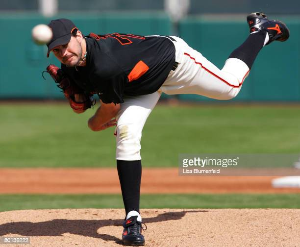 Barry Zito of the San Francisco Giants pitches during a Spring Training game against the Kansas City Royals at Scottsdale Stadium on March 5 2008 in...