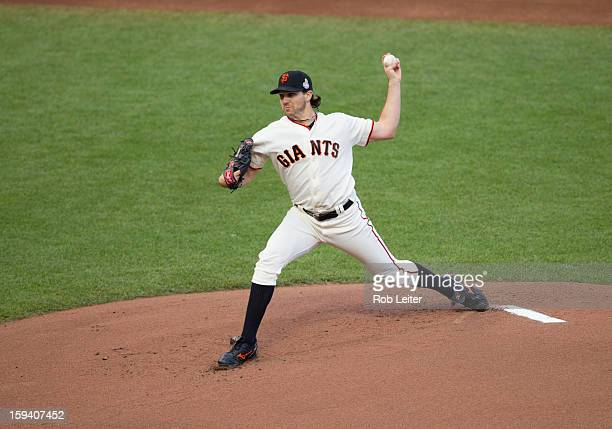 Barry Zito of the San Francisco Giants pitches during Game One of the 2012 World Series against the Detroit Tigers on October 24 2012 at ATT Park in...