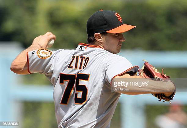 Barry Zito of the San Francisco Giants pitches in the fourth inning against the Los Angeles Dodgers at Dodger Stadium on April 18 2010 in Los Angeles...