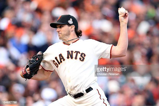 Barry Zito of the San Francisco Giants throws a pitch in the first inning against the Detroit Tigers during Game One of the Major League Baseball...