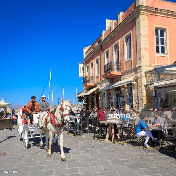 Bars and cafes around the Venetian harbour in Chania, Crete