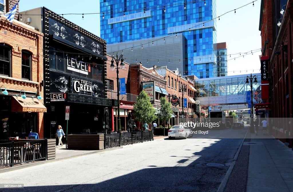 Bars And Restaurants Along Monroe Avenue In Greektown In Detroit