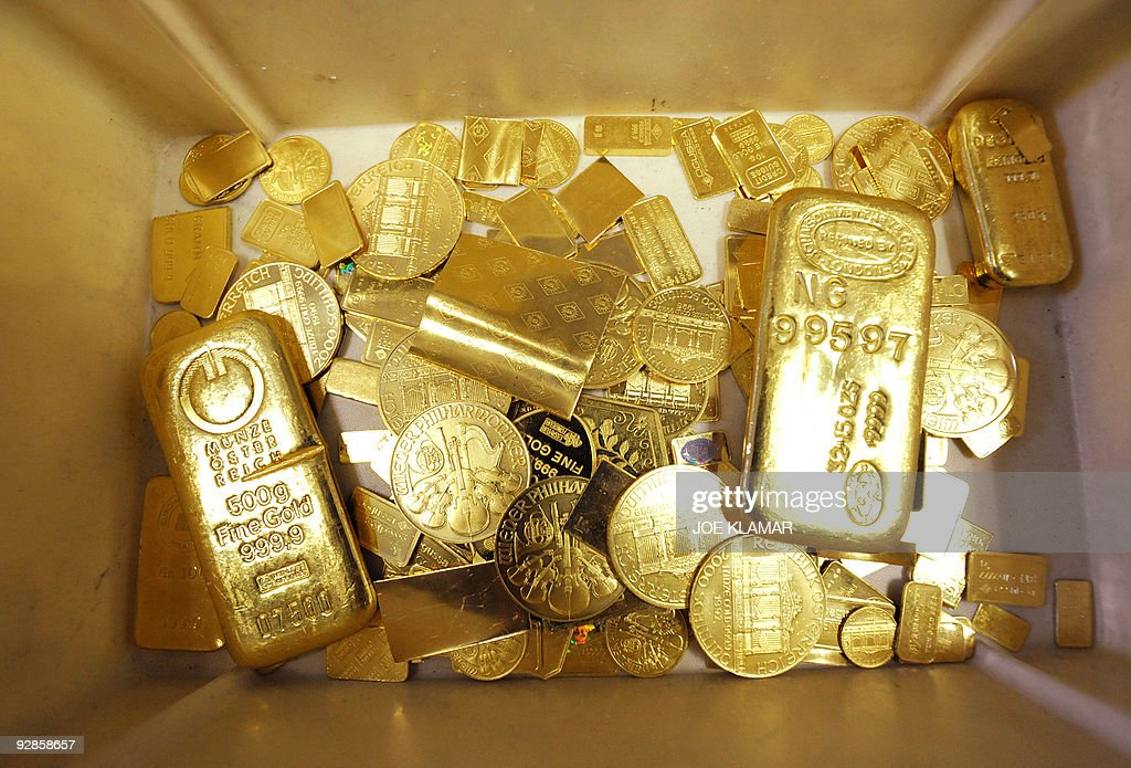 Bars, coins and other objects made of gold wait to be remelted as they didn't pass the standards at Austrian gold bullion factory Oegussa on October 8, 2008 in Vienna. Oegussa announced on October 6, 2008 that it has increased its production tenfold, as the global financial crisis pushes investors toward a precious metal seen as a safe haven during economic turmoil. Demand is particularly high for bars of 50 grams to one kilogram since gold is tax free for transactions of less than 15,000 euros (20,000 dollars), Oegussa said.