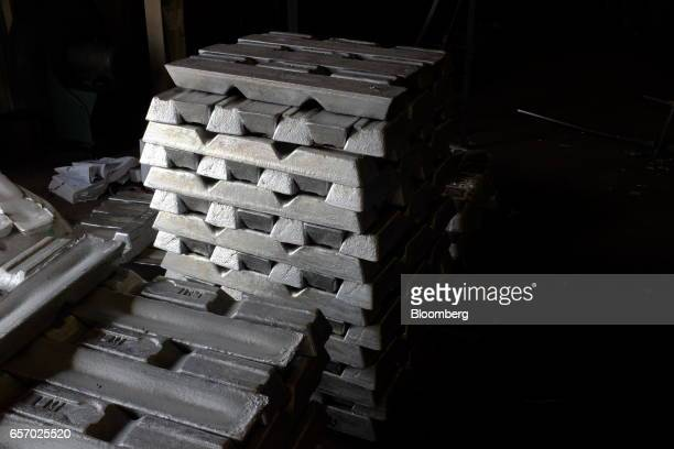 Bars of aluminum sit stacked before being melted down in the foundry at the Super Vac Manufacturing Co production facility in Fort Collins Colorado...
