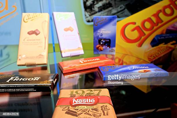 Bars of Nestle brand chocolate sit on display at the Nestle SA headquarters in Vevey Switzerland on Thursday Feb 19 2015 Nestle the world's biggest...