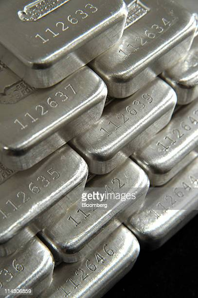 Bars of onekilogram silver are arranged for a photograph at the offices of Gold Bullion Australia in the Gold Coast Australia on Tuesday May 17 2011...