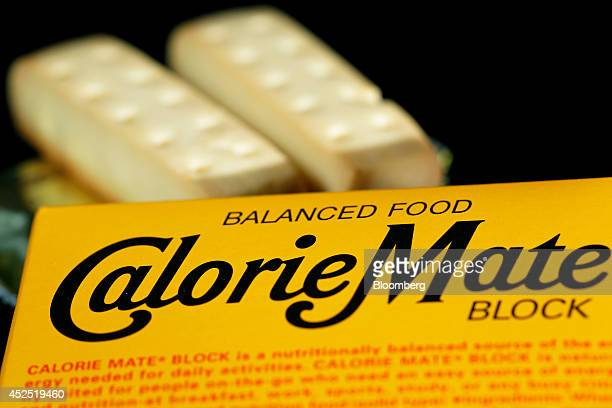 Bars of Otsuka Pharmaceutical Co Calorie Mate nutritionallybalanced food are arranged for a photograph with their box in Tokyo Japan on Sunday July...