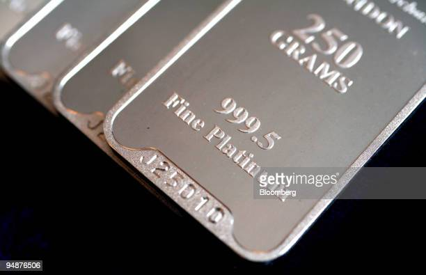 Bars of platinum are displayed at a bullion merchant's Baird Co in London UK on Friday March 14 2008 Commodities in their seventh year of gains has...