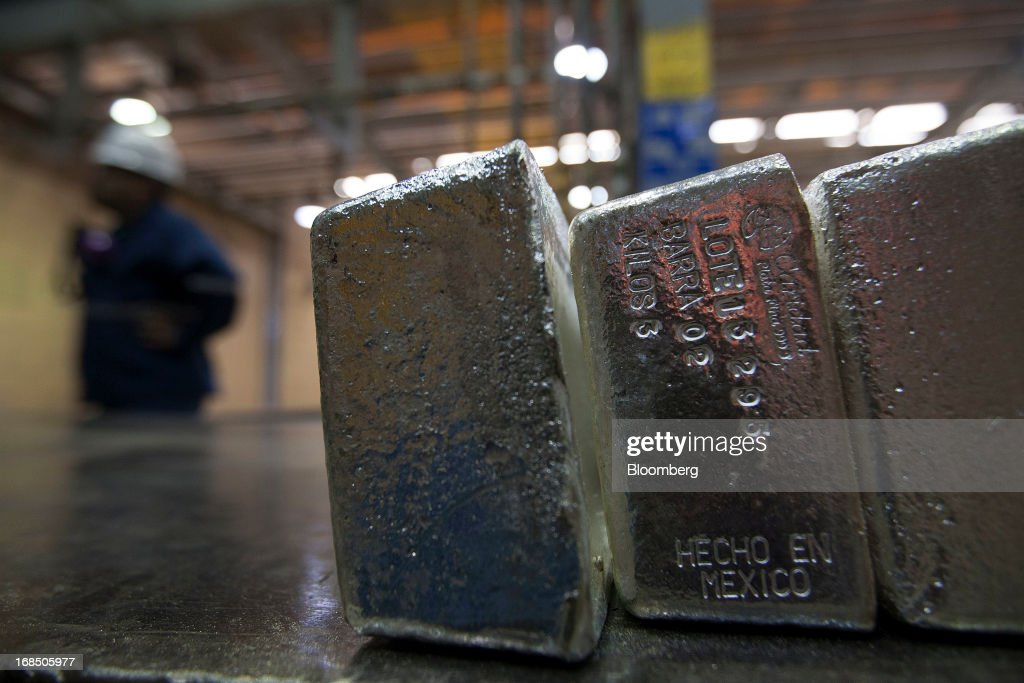Bars of silver bullion stamped with a 'Made in Mexico' label sit in the precious metals vault at Grupo Mexico SAB's La Caridad smelter facility in Sonora, Mexico, on Tuesday, May 7, 2013. Silver prices declined 2.1 percent in New York trading over the week ending May 10. Photographer: Susana Gonzalez/Bloomberg via Getty Images