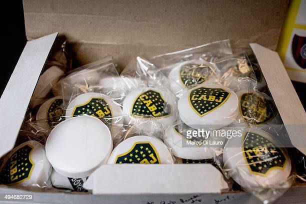 Bars of soap with the 'Club Atletico Boca Juniors' logo soccer team are seen in a box in the taxi of Jorge Alfredo Vasquez on May 12 2012 in Buenos...