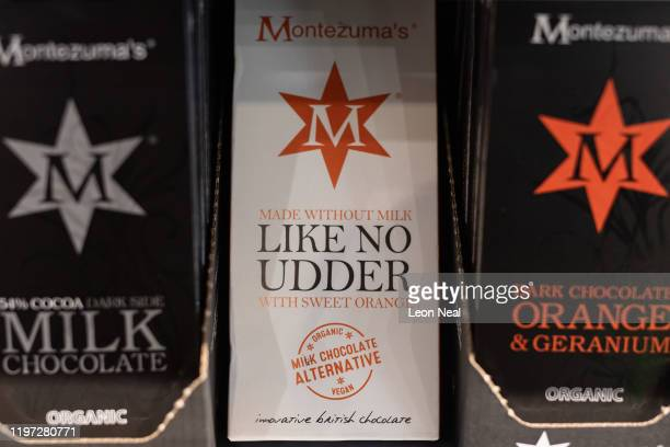 Bars of vegan dairy-free chocolate are seen in a branch of the Planet Organic healthfood store on January 03, 2020 in London, England. Veganuary, a...