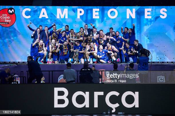 Barsa celebrating the championship after Finals King's Cup match between Real Madrid and Barsa at Wizink Center on February 14, 2021 in Madrid, Spain.
