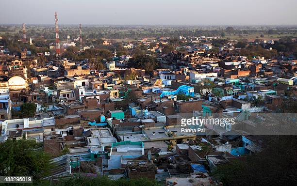 barsana city view from top - uttar pradesh stock pictures, royalty-free photos & images